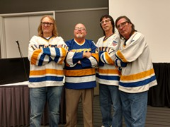 The Hanson Brothers from the iconic hockey movie, Slapshot at the World of Wheels Auto Show