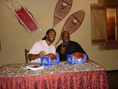 "Larry Fitzgerald with fan on our ""NFL Tour"" to Europe"